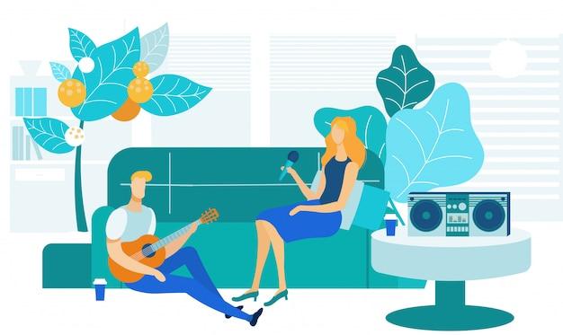 Home karaoke, intrattenimento illustrazione vettoriale Vettore Premium