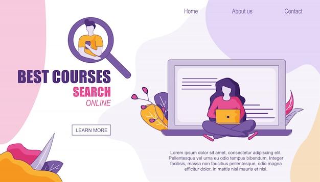 Home page di web design ricerca dei migliori corsi online Vettore Premium