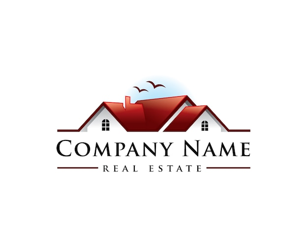 Home sunset real estate logo Vettore Premium