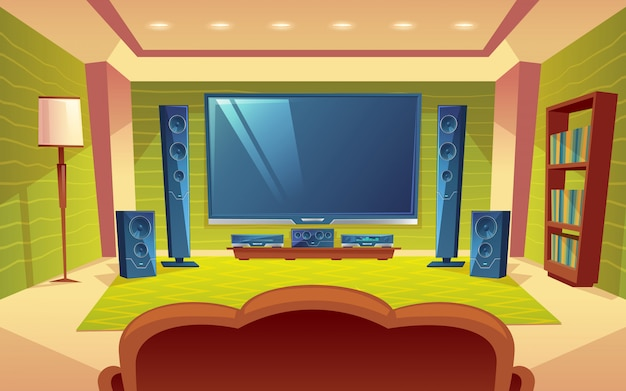 Home theatre, sistema audio video con telecomando all'interno della sala. Vettore gratuito