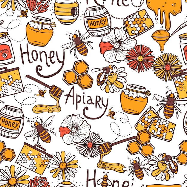 Honey seamless pattern Vettore gratuito