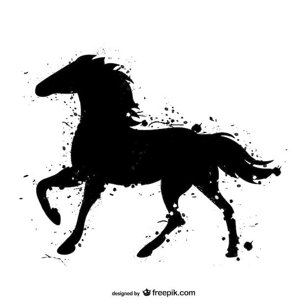 Horse acquerello nero Vettore gratuito