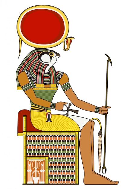 Horus, figura isolata del dio antico egitto Vettore Premium