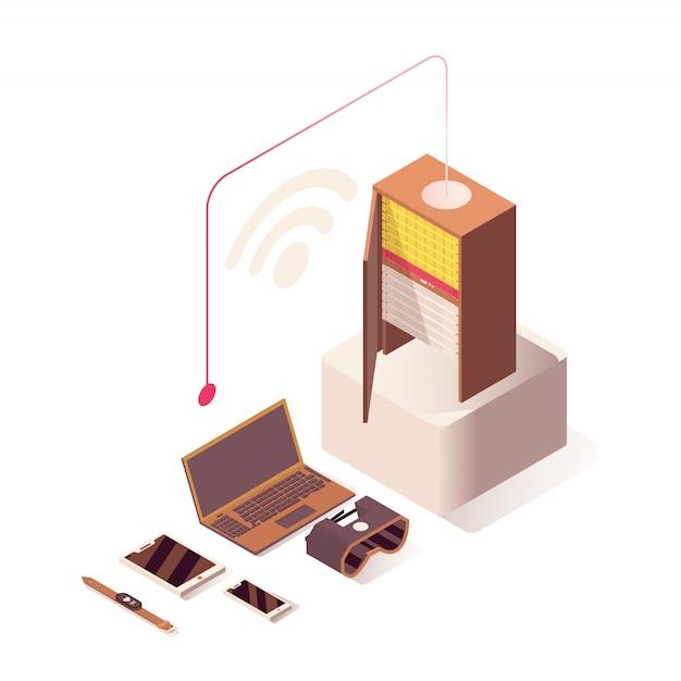 Hosting online, server, apparecchiature hardware per computer e tecnologie iot Vettore Premium