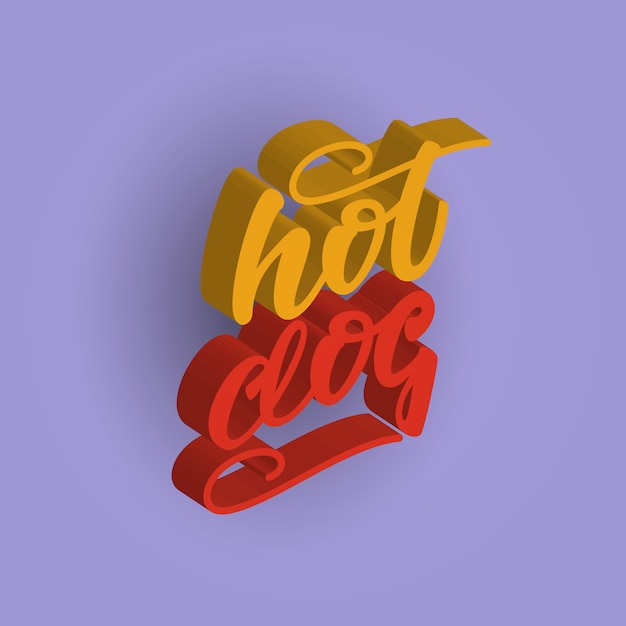 Hot dog 3d lettering design. illustrazione vettoriale Vettore Premium