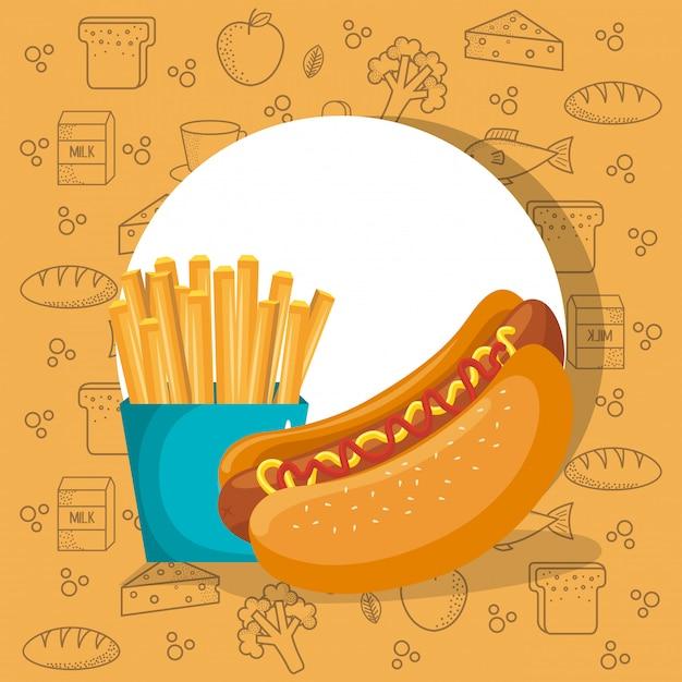 Hot dog e soda fast food Vettore gratuito