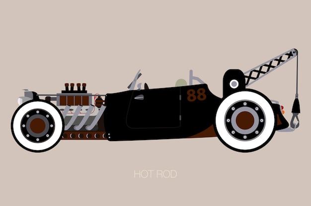 Hot rod tow truck, side view of car, automobile, veicolo a motore Vettore Premium