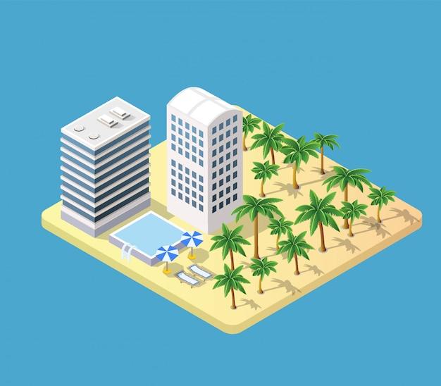 Hotel isometrico 3d con una spiaggia Vettore Premium