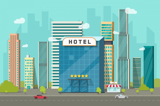 Hotel nell'illustrazione di vettore di vista del paesaggio delle costruzioni della città in fumetto piano Vettore Premium