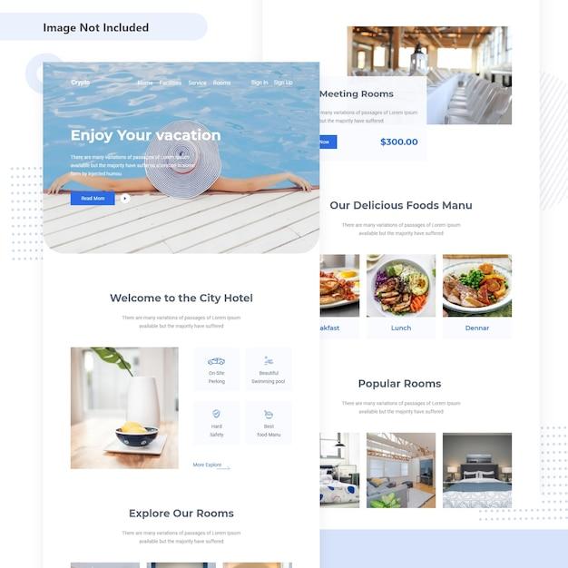 Hotel resort progettazione dell'interfaccia utente e-mail Vettore Premium