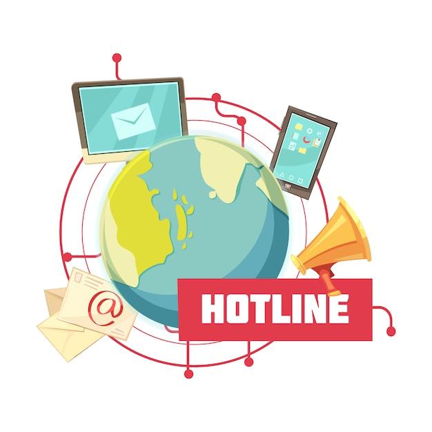 Hotline retro cartoon design Vettore gratuito