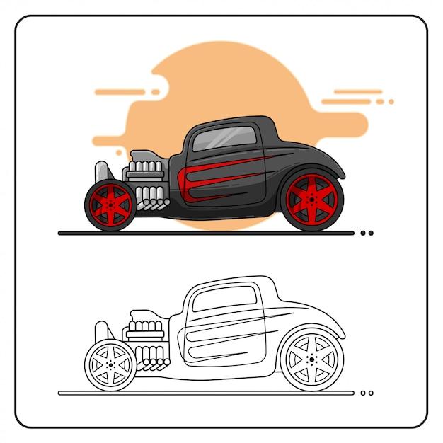Hotrod nero rosso facile Vettore Premium