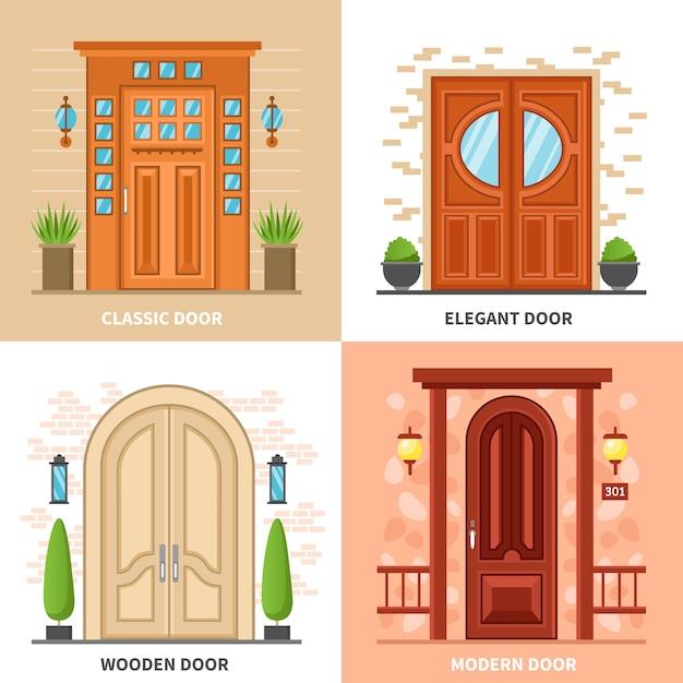 House doors 2x2 design concept Vettore gratuito
