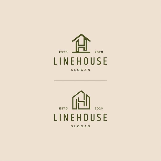 House logo linea arte vintage retrò Vettore Premium