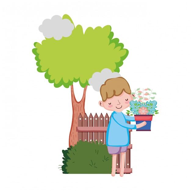 Houseplant di sollevamento del ragazzino con l'albero e la rete fissa Vettore Premium