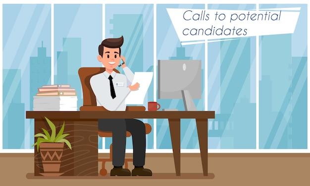Hr o responsabile delle assunzioni chiama i candidati. Vettore Premium