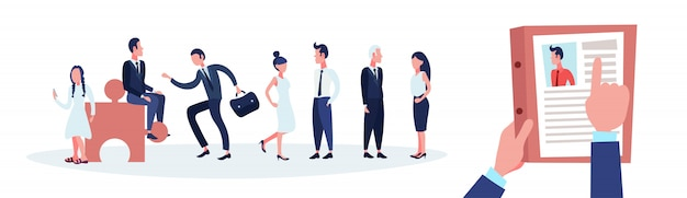 Hr stretta di mano cv curriculum di uomo d'affari su uomini d'affari del gruppo scegliere candidato Vettore Premium