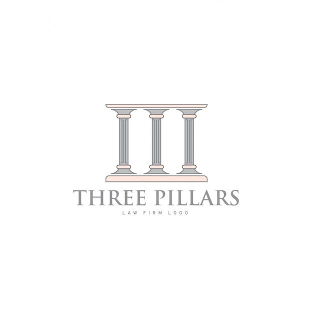 Hree pillars with greek roman pillar style logo design per lawfirm and justice company Vettore Premium