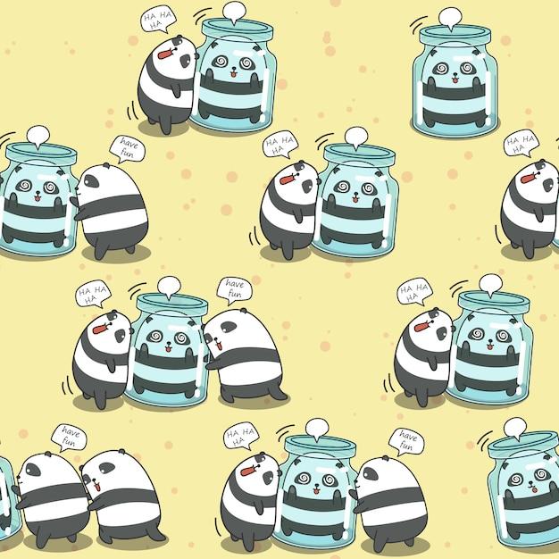 I 4 panda senza cuciture stanno giocando insieme il modello. Vettore Premium