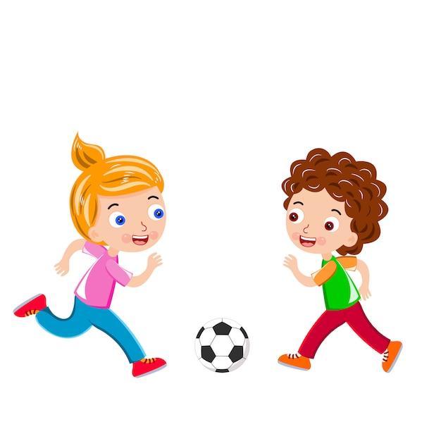 I bambini calciano il pallone da calcio vettoriale Vettore Premium