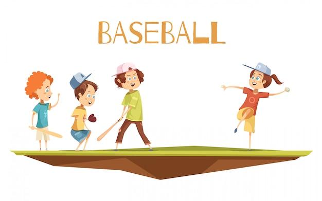 I bambini che giocano a baseball illustrazione piatta in stile cartone animato con simpatici personaggi impegnati nel gioco Vettore gratuito