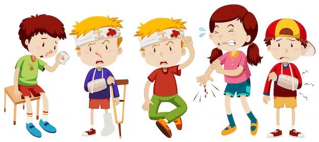 I bambini con ferite da incidente Vettore gratuito