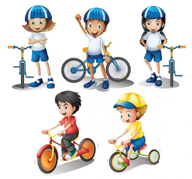 I bambini con le loro biciclette Vettore gratuito
