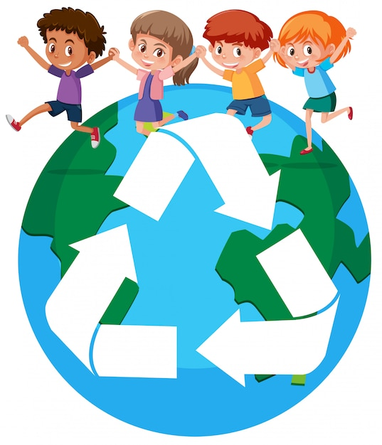 I bambini di tutto il mondo riciclano il concetto Vettore Premium