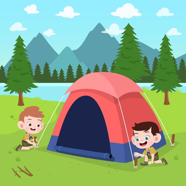 I bambini esplorano all'illustrazione del campo Vettore Premium