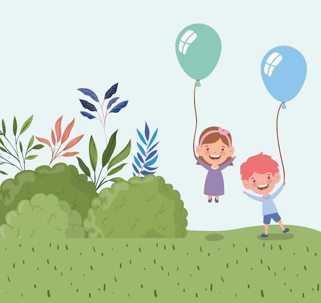 I bambini felici con l'elio dei palloni nel campo abbelliscono Vettore gratuito