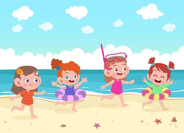 I bambini giocano all'illustrazione della spiaggia Vettore Premium