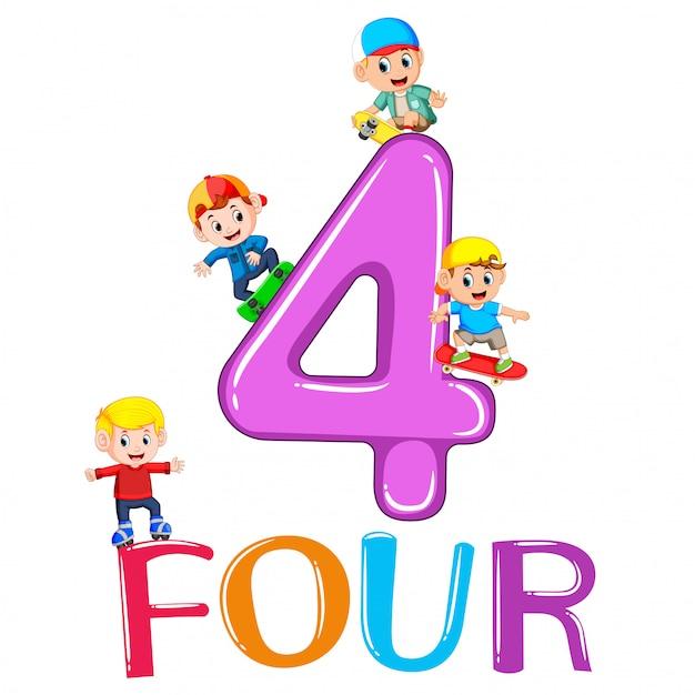 I bambini giocano con il grande numero quattro Vettore Premium