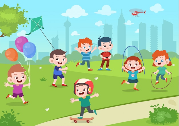 I bambini giocano nel parco Vettore Premium