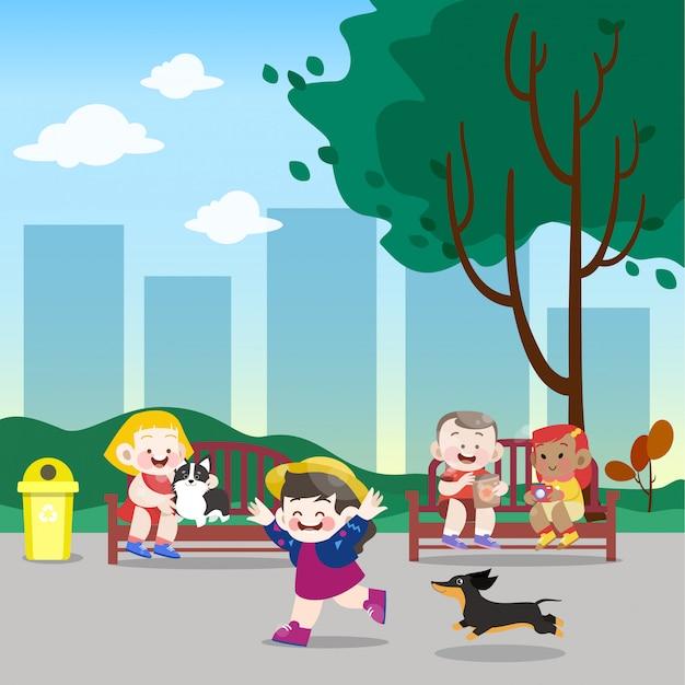 I bambini giocano nell'illustrazione di vettore del parco Vettore Premium