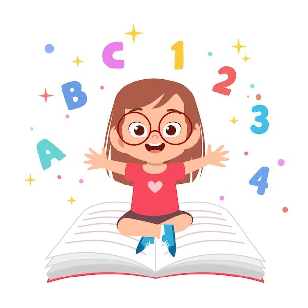 I bambini imparano a leggere l'illustrazione Vettore Premium