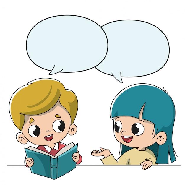I bambini parlano a scuola Vettore Premium