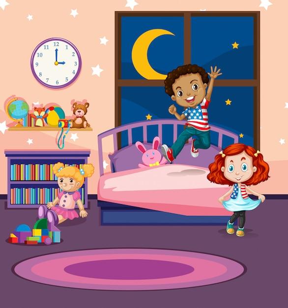 I bambini saltano sul letto Vettore Premium