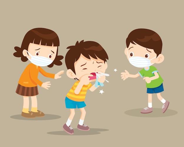 I bambini si ammalano Vettore Premium