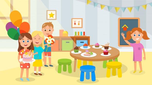 I bambini sono venuti per congratularsi con l'amico con il compleanno Vettore Premium