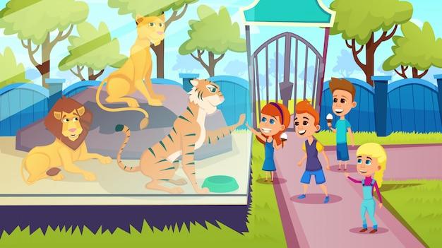 I bambini stanno con predatori, lions tiger nello zoo, Vettore Premium