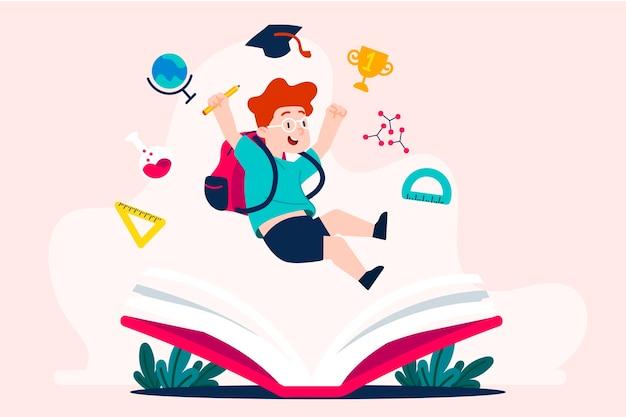 I bambini tornano a scuola illustrazione Vettore gratuito