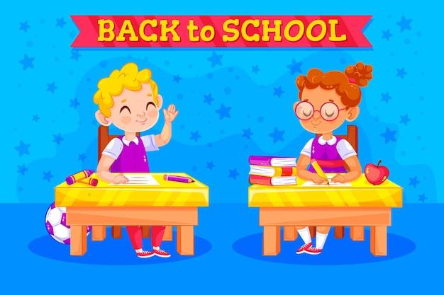 I bambini tornano al concetto di scuola Vettore gratuito