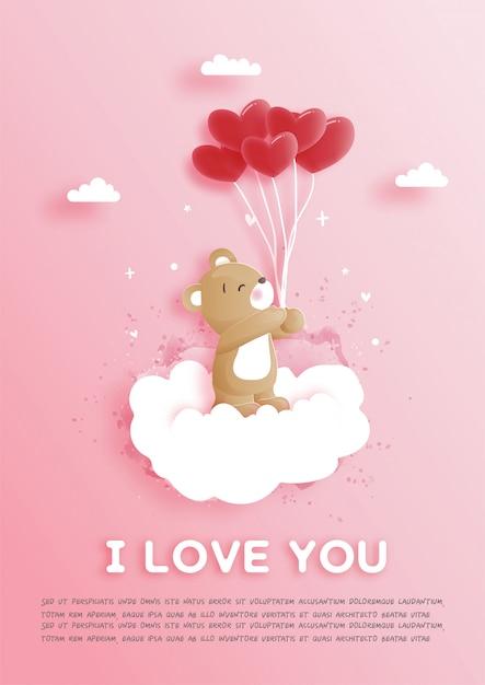 I biglietti di s. valentino cardano con l'orsacchiotto sveglio nell'illustrazione di stile del taglio della carta. Vettore Premium