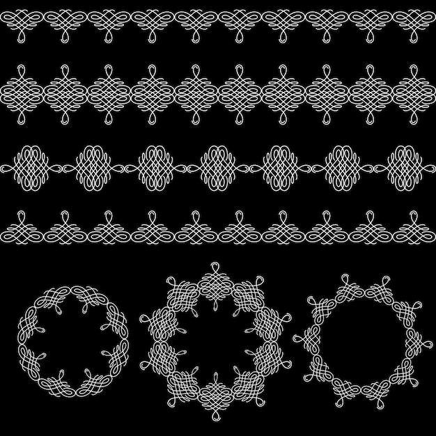 I bordi, il reticolo senza giunte e le strutture rotonde hanno messo la raccolta nel retro stile calligrafico isolato Vettore Premium