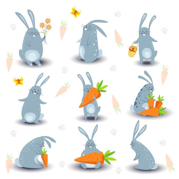 I caratteri del coniglietto del fumetto vector le icone per il modello di progettazione di pasqua, del libro dei bambini o di fiaba Vettore Premium
