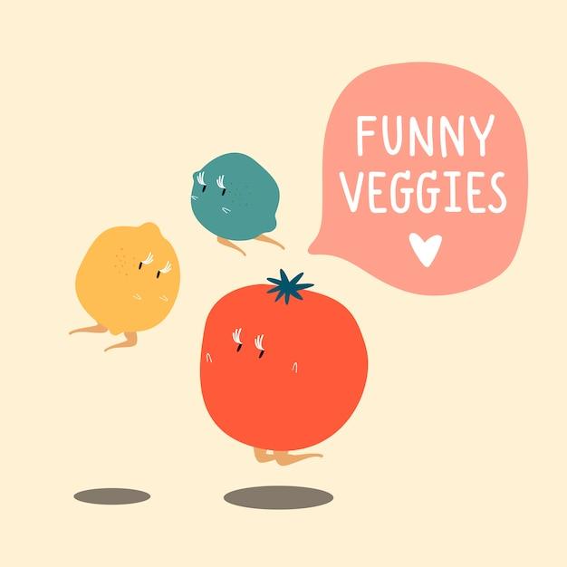 I caratteri del fumetto della verdura fresca hanno fissato il vettore Vettore gratuito