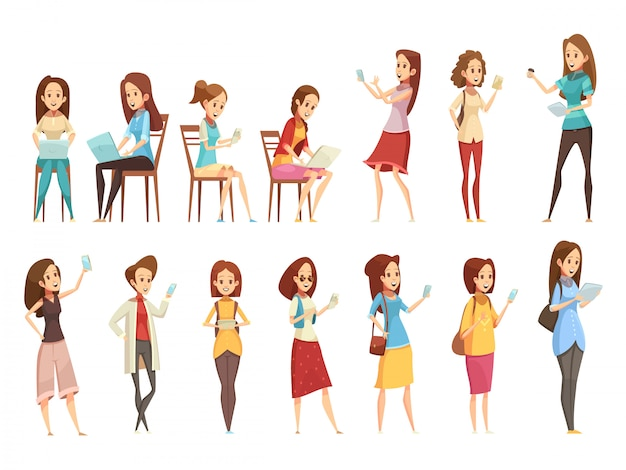 I caratteri delle ragazze dell'adolescente con le retro icone 2 del fumetto del computer portatile e della compressa del telefono le insegne hanno messo l'illustrazione di vettore isolata Vettore gratuito
