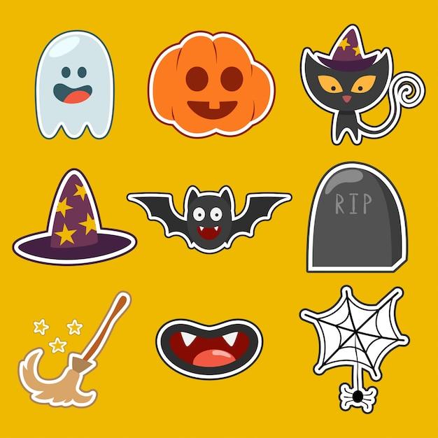 I caratteri e le icone svegli di halloween hanno messo isolato. Vettore Premium
