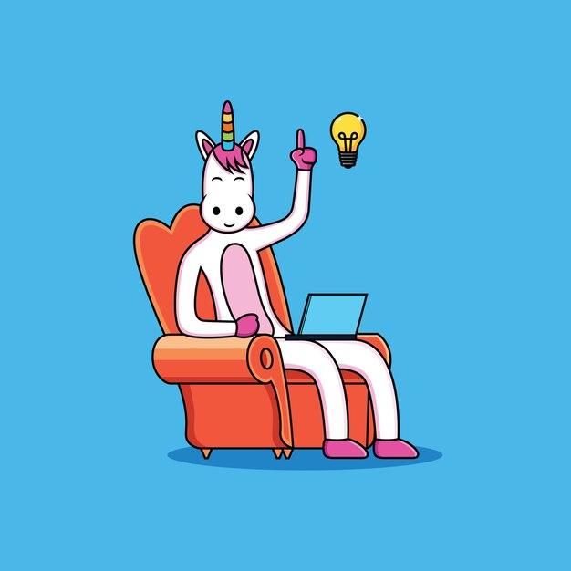 I cartoni animati degli unicorni hanno idee con una faccia divertente Vettore Premium