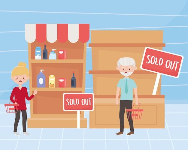 I clienti dell'uomo e della donna con i canestri vuoti e gli scaffali commercializzano l'illustrazione in eccesso dell'acquisto Vettore Premium